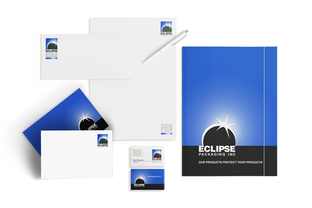 Graphic Design for Folder, Letterhead, Envelope, Notecard and Business Cards for Eclipse Packaging Inc
