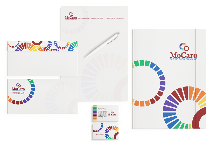 Graphic Design of Folder, Letterhead, Envelope and Business Cards for MoCaro